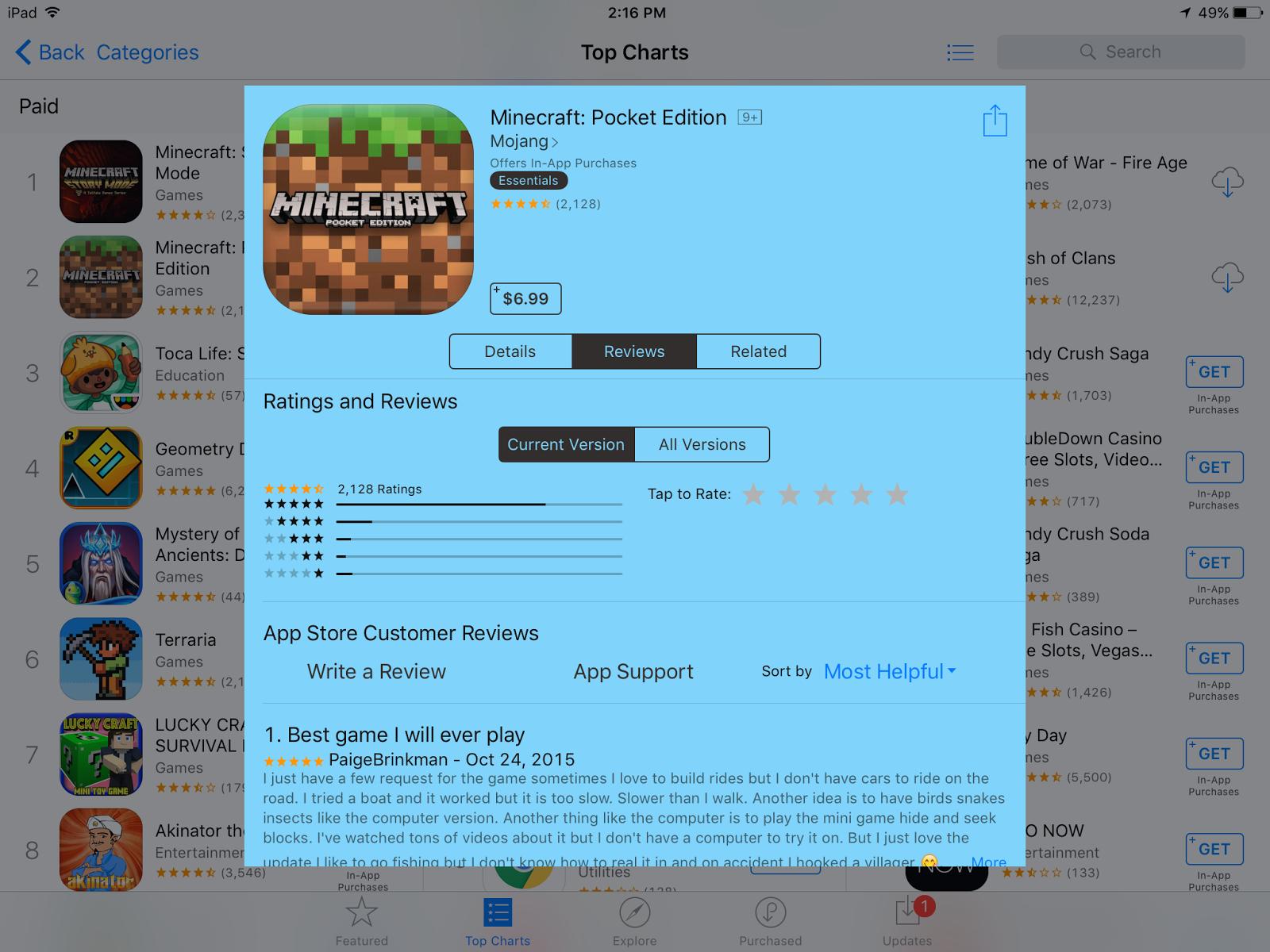 Minecraft: Pocket Edition app details.