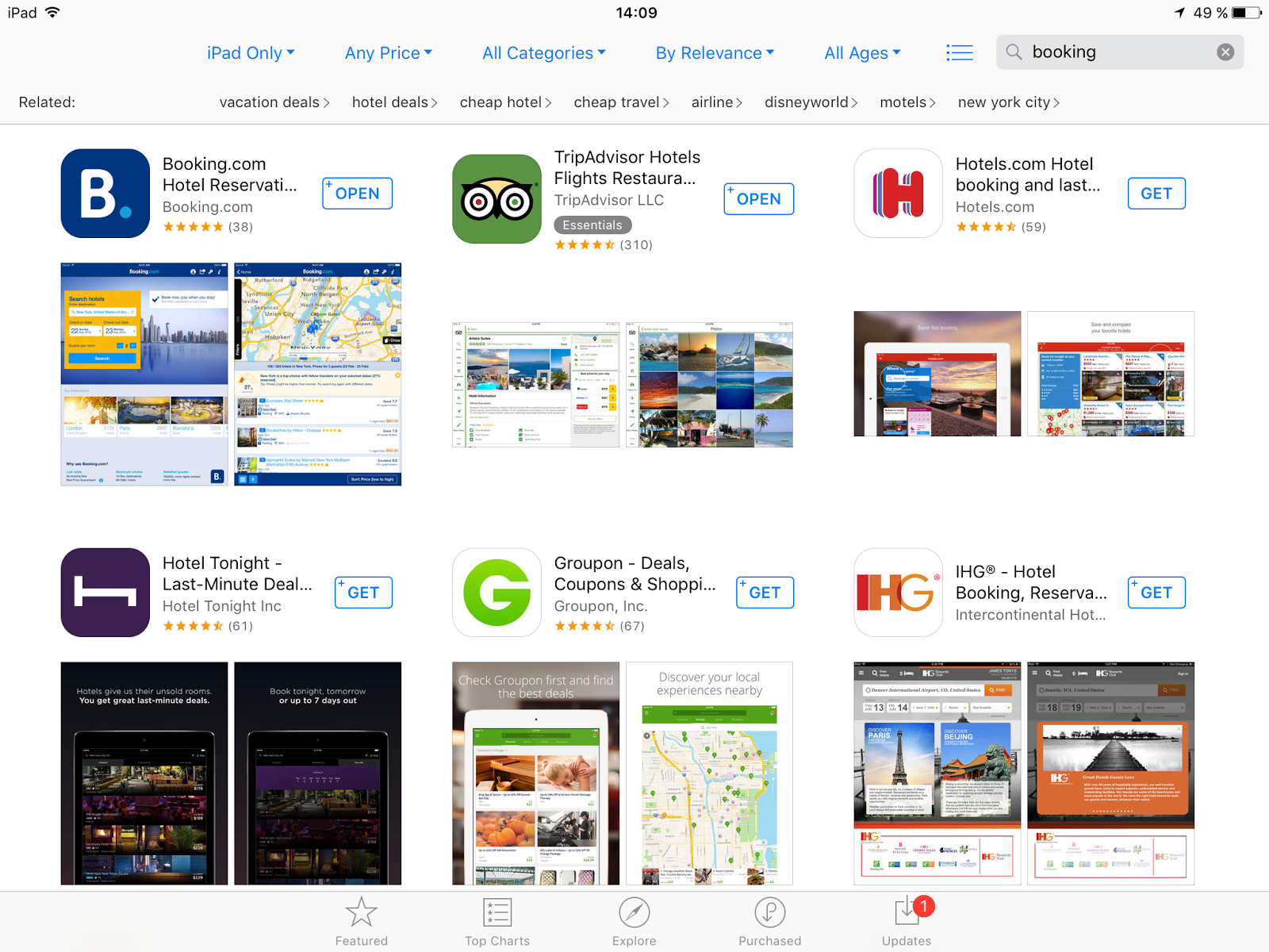 App Store search results. Only first two screenshots are displayed