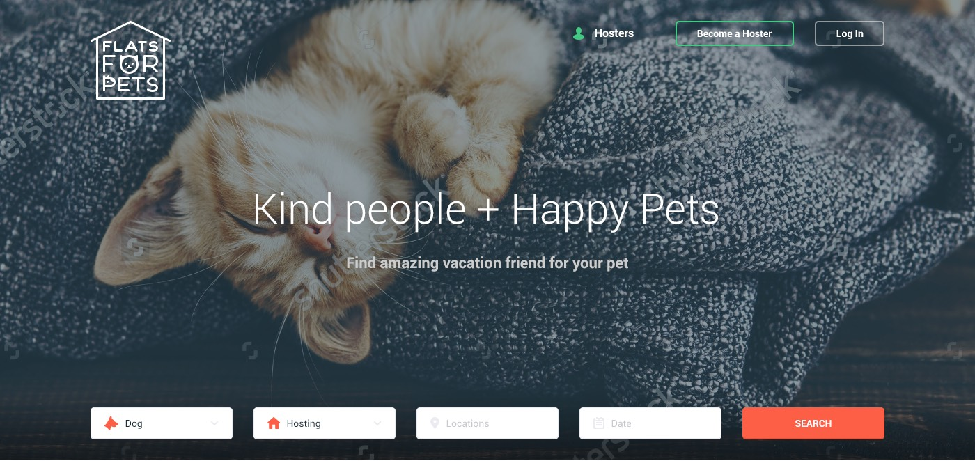 The first block of Flats For Pets landing page