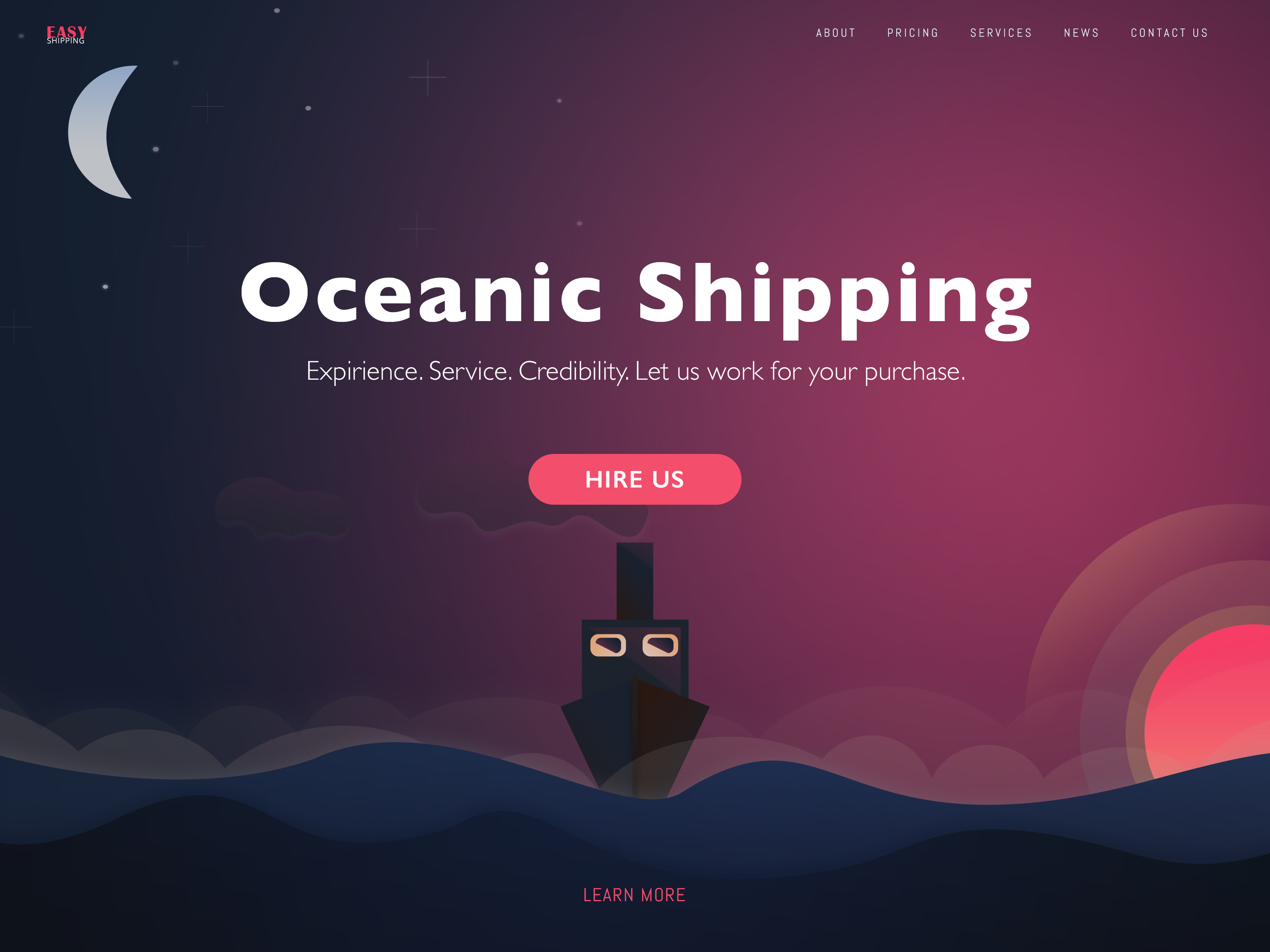 landing page of an Australian shipping company