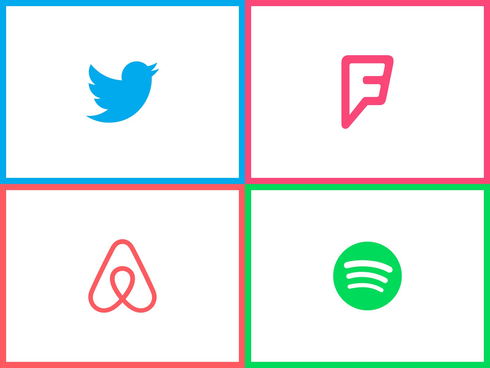 twitter foursquare spotify airbnb logo