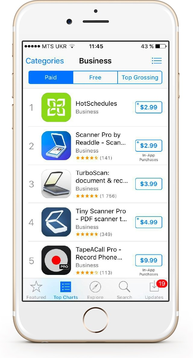 List of top paid apps in business category