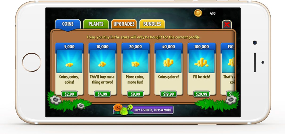 Users can buy coins using In-App Purchase