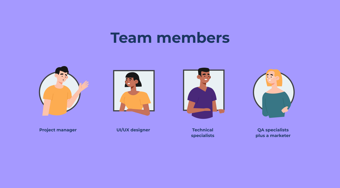 Team members for learning website development