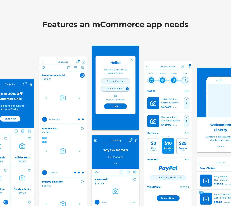 mCommerce app features for development