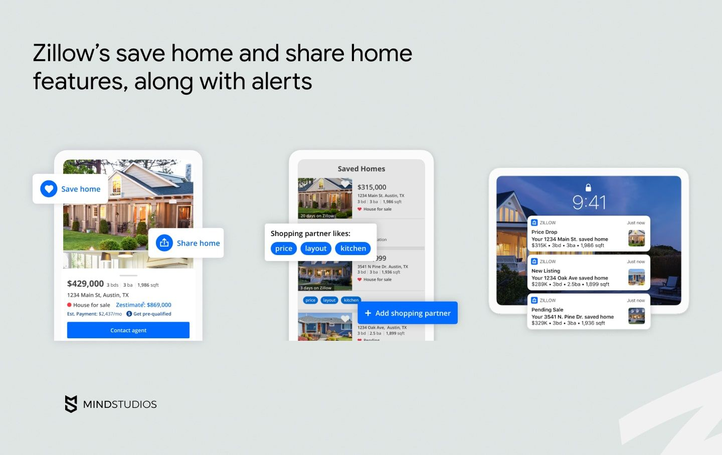Zillow's save home and share home features, along with alerts