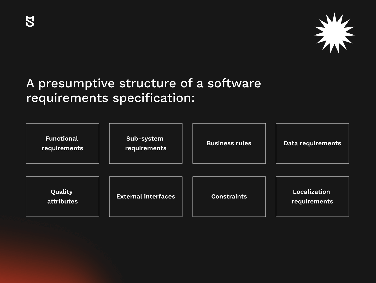 Potential structure of a software requirements specification