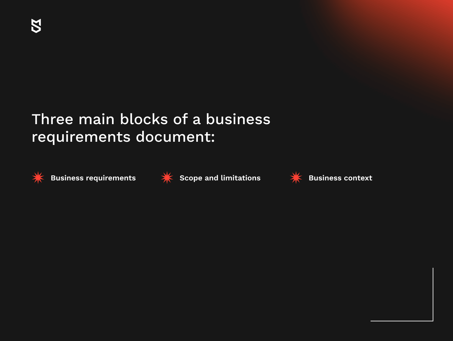 Three main blocks of a business requirements document