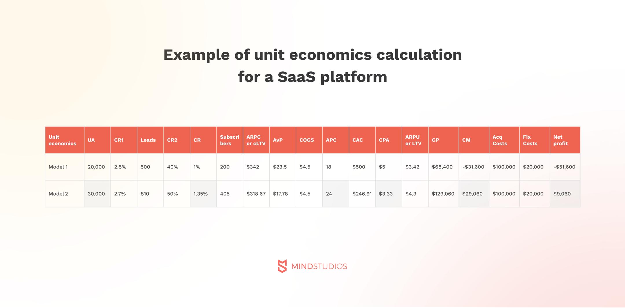 Example of unit economics calculation for SaaS platform